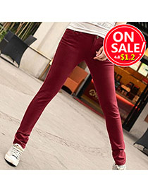 Fashion Claret-red Candy Color Slim Design Fabric Trousers