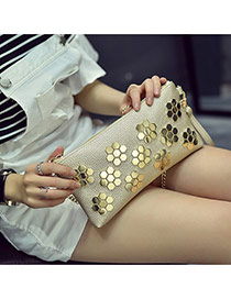 Trendy Gold Color Rivet Flower Decorated Metal Chain Design Pu Wallet