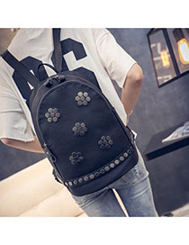vintage Black Rivet Flower Decorated Simple Design Pu Backpack