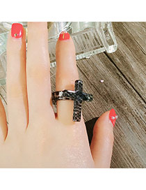 Fashion Gray Cross Decorated Simple Design Resin Korean Rings