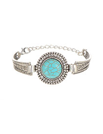 Retro Silver Color Round Shape Decorated Simple Design Alloy Fashion Bangles