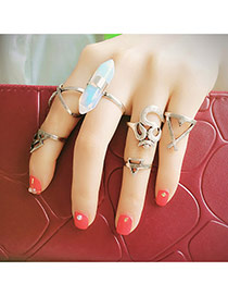 Fashion Silver Color Bullet Shape Dedorated Multi-element Design Alloy Korean Rings