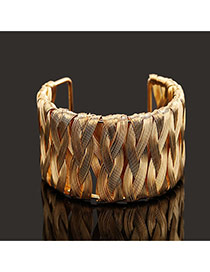 Trending Gold Color Metal Wire Weave Opening Design Alloy Fashion Bangles