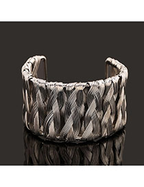 Trending Silver Color Metal Wire Weave Opening Design Alloy Fashion Bangles