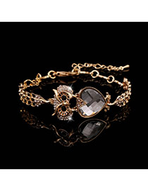 Trending Gold Color+gray Heart Diamond Decorated Owl Design Alloy Korean Fashion Bracelet
