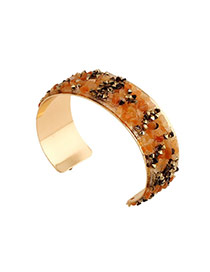Trending Coffee Full Stones Decorated Opening Design Alloy Fashion Bangles