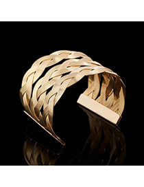 Trending Gold Color Metal Wire Weave Opening Multilayer Design Alloy Fashion Bangles
