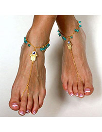 Fashion Gold Color Palm Shape Decorated Simple Design Alloy Fashion Anklets
