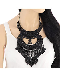 Retro Black Coins Decorated Multilayer Design Alloy Bib Necklaces