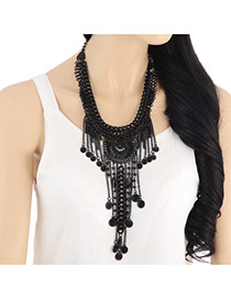 Retro Black Tassel Decorated Multilayer Design