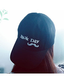 Casual Black Embroidery Mustache&letter Decorated Pure Color Design Fabric Baseball Caps