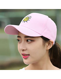 Casual Pink Embroidery Sun Pattern Decorated Pure Color Design Fabric Baseball Caps