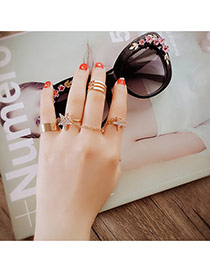 Fashion Gold Color Double Star Decorated Multilayer Design