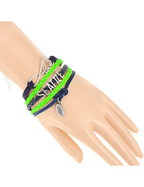 Trendy Green+sapphire Blue Seattle Letter Decorated Multilayer Design Alloy Korean Fashion Bracelet