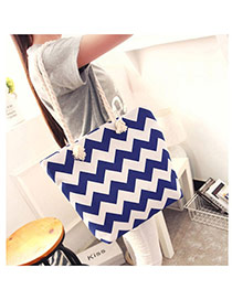 Fashion Blue Wave Shape Pattern Decorated Simple Design