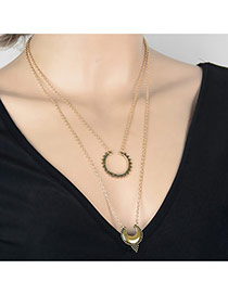 Fashion Gold Color Waterdrop Shape Pendant Decorated Double Layer Design