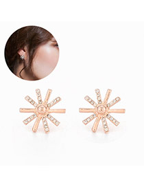 Sweet Gold Color Diamond Decorated Sunflower Shape Design Alloy Stud Earrings