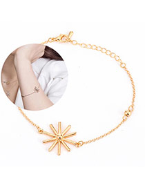Sweet Gold Color Sunflower Shape Decorated Simple Design Alloy Korean Fashion Bracelet