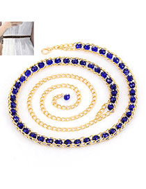 Fashion Purple Beads Decorated Chains Weave Design Alloy Thin belts