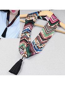 Retro Multicolor Tassel Pendant Decorated Stripe Pattern Design Silk Thin Scaves