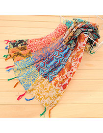 Retro Multicolor Flower Pattern Decorated Tassel Design Cotton Thin Scaves