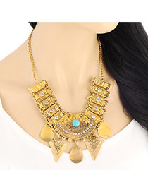 Vintage Light Blue Triangle & Water Drop Shape Decorated Geometry Design Alloy Bib Necklaces