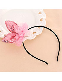 Lovely Pink Rabbit Ears Shape Decorated Lace Design Fabric Kids Accessories