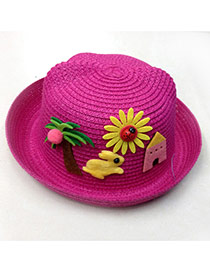 Lovely Plum Red Rabbit&tree Decorated Crimping Design Straw Children's Hats