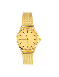 Fashion Gold Color Line Decorated Round Case Design Alloy Ladies Watches