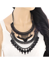 Exaggerate Black Round Pendant Decorated Multilayer Design Alloy Bib Necklaces