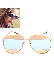 Fashion Gray-blue Color Matching Decorated Thin Leg Design Alloy Women Sunglasses