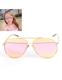 Fashion Pink Color Matching Decorated Thin Leg Design Alloy Women Sunglasses