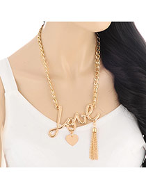 Fashion Gold Color Love Letter&tassel Pendant Decorated Short Chain Design