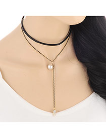 Fashion White Rivet&long Tassel Pendant Decorated Double Layer Design