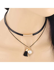 Fashion Black Metal Chain Decorated Weaving Design Collar Necklace
