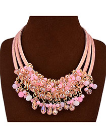 Fashion Pink Gem Tassels Decorated Multilayers Design Acrylic Bib Necklaces