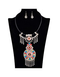 Vintage Multicolor Tassels Decorated Geometric Shape Design Alloy Jewelry Sets