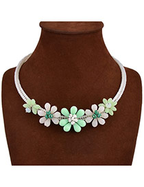 Exaggerate Light Green+white Flower Shape Decorated Double Layer Design Acrylic Bib Necklaces