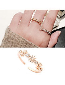 Lovely Rose Gold Diamond Decoratded Flower Shape Design Dots Descendants Of The Sun Alloy Korean Rings