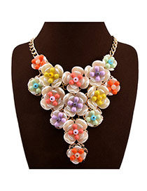 Sweet Multi-color Flower Pendant Decorated Collar Design Acrylic Bib Necklaces