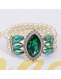 Luxury Green Big Oval Dimaond Decorated Multilayer Design Crystal Korean Fashion Bracelet