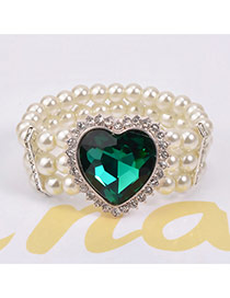 Luxury Green Heart Shape Diamond Decorated Multilayer Design Crystal Korean Fashion Bracelet