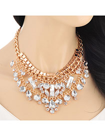 Fashion Gold Color Geometry Diamond Decorated Double Layers Design Alloy Bib Necklaces
