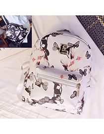 Sweet White Butterfly&flower Pattern Decorated Simple Design Pu Backpack