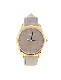 Trendy Gray Line Decorated Round Case Design Pu%2belectron Ladies Watches