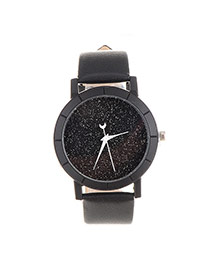 Fashion Black Candy Color Decorated Round Case Design  Pu Ladies Watches