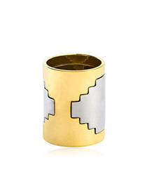 Fashion Gray+gold Color Cylinder Shape Decorated Simple Design Alloy Korean Rings