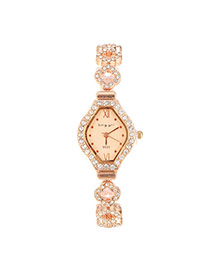 Fashion Champagne Diamond Decorated Clover Shape Band Design  Alloy Ladies Watches
