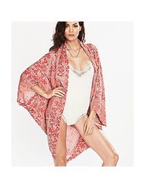 Sexy Red Flower Pattern Decorated Loose Cardigan Design Bikini Cover Up Smock Cotton Beach Dresses