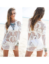 Sexy Beige Embroidered Pattern Decorated Short Design Bikini Cover Up Smock Lace Beach Dresses